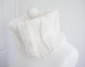 SALE Hand Knitted Chunky oversized white cowl