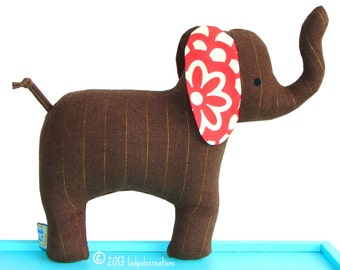 Cloth Elephant Baby Toy with Rattle - Brown Linen - Red Ears - Baby Safe - Child Friendly - Unisex New Baby - Shower Gift - Toddler - Gift