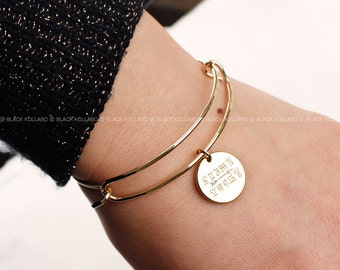 College Graduation Gift, Custom Coordinate Bracelet, Custom Coin Bangle, Name Bangle, Bridesmaid Gifts, Birthday Gifts
