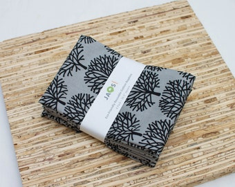Large Cloth Napkins - Set of 4 - (N3524) - Grey Forest Trees Modern Reusable Fabric Napkins