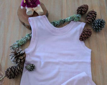 Pure supersoft girls merino singlet in lilac. Size 4-6 years
