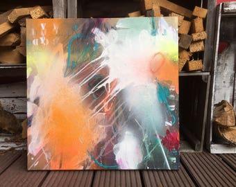 large abstract painting, original art, orange, white, blue, handmade walldecor