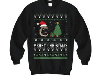 Merry Christmas Pug, Pug, Pug Gift, Pug Shirt, Pug Sweater, Pug Christmas Sweater, Pug Christmas, Ugly Sweater