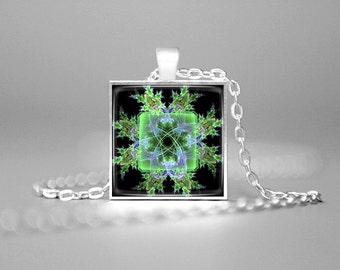 GREEN FLORAL FRACTAL Mandala Charm Necklace Mandala Art Mandala Pendant Sacred Geometry Meditative Necklace Mandala Jewelry Necklace Gift