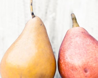Pears Print, Rustic Kitchen Decor, Yellow, Red, Orange, Gold, Food Photography, Kitchen Art