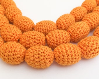 Crochet Beads, Round Crochet Beads, Large Oval Wrapped Beads Orange-10pc