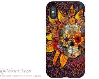 Sunflower Sugar Skull iPhone X Tough Case - Artistic Dia De Los Muertos iPhone 10 Case - Dual Layer Protection - Origins Botaniskull