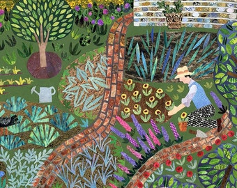 Monk's House Garden·Greeting Card·Leonard Woolf·Bloomsbury·Naive Art·Fine Art Card·Virginia Woolf·Card for Gardeners·Flowers·Gardening
