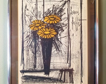"Bernard Buffet ""Flowers"" 1968 lithograph w/ certificate of authenticity"