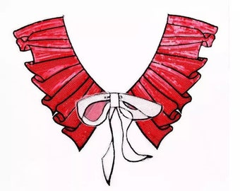 Red Ruffles and White Bow Sequins Collar Fabric Patch - Patches - Applique - Sew On - Jackets - Jeans - Backpacks - Soft