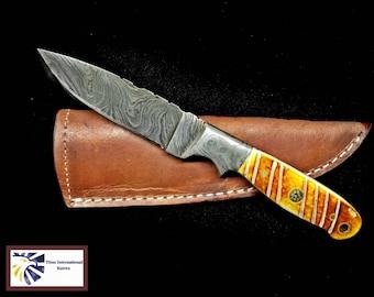 Damascus Knife, Burn Camel Bone Scales by Titan TD-102