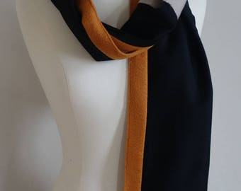 Black and orange woven cashmere scarf