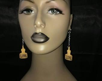 Cute Love Ink Bottle Wooden Earrings Dangling from Beautiful Chain, Dangling Earrings, Womens Earrings, Jewelry
