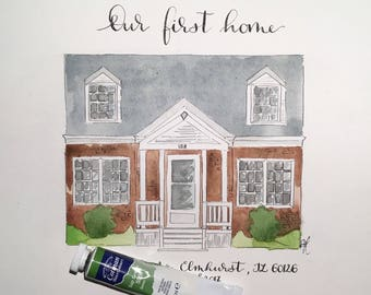 Custom house portrait with a chosen calligraphy frase   front shot   house painting   home portrait