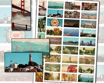 San Francisco Color Photograph Domino Digital Collage sheet 1x2 inches 25mm x 50mm Fisherman's Wharf California America United States