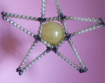 Vintage mercury glass  beaded star Christmas ornament, Czechoslovakia