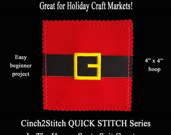 "Quick Stitch Santa Suit Coasters - In The Hoop - Machine Embroidery Design Download (4"" x 4"" Hoop) Craft Fair Easy Gifts"