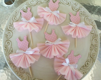 Birthday Decoration Party Dress Cupcake Toppers for Ballet or Princess Birthday  Party