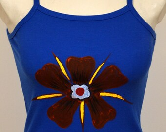 Hand painted Blue Top Flower