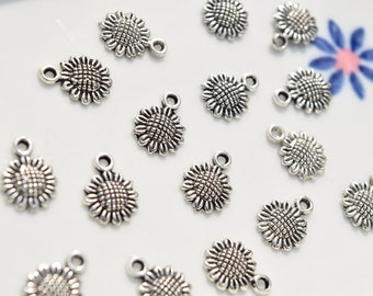 12 Sunflower charms | silver sunflower charms | flower charms | silver flower charm | summer charms | summer flower charms | SC725