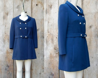 c. 1960s mod navy blue coat + vintage 60s fitted coat + vintage mod blue and white jacket