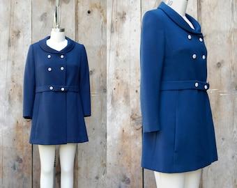 c. 1960s mod navy blue coat + vintage 60s fitted coat + vintage mod blue and white jacket
