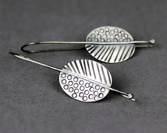 Oval Earrings, Stamped Silver Earrings, Recycled Sterling Silver Dangles, Tribal Pattern