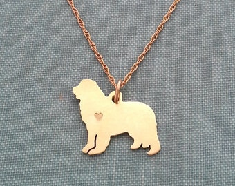 Newfoundland dog Necklace, 14kt gold filled & Brass Personalize Newfie Pendant, Breed Silhouette Charm Rescue Shelter, Memorial Gift