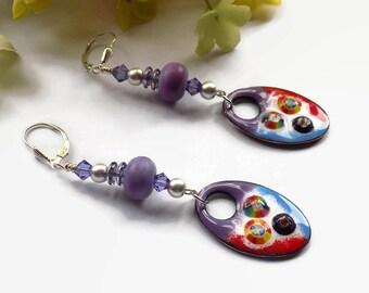 Bright Boho Earrings for Women Statement Earrings Gift for Her Enamel Dangles Sterling Silver Birthday Gift