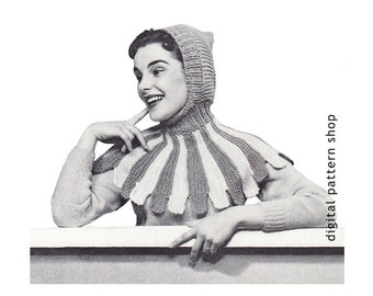 Knit Hat Pattern Womens Hood Knitting Pattern Robin Hood Hat Pattern Scalloped Cape Instant Download-  K44