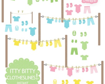 Baby Clothesline Clip Art with Onesie Mitten Bootie Bib in Pink Yellow Green and Blue Baby Invitation Clip Art