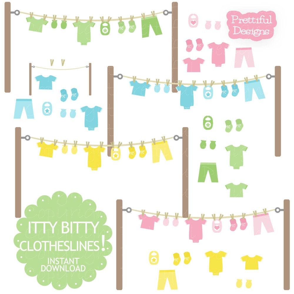 baby clothesline clip art with onesie mitten bootie bib in rh etsy com baby clothesline clipart free Baby Girl Clip Art