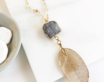 Long Gold Leaf and Grey Stone Necklace in Gold with Moonstone. Stone Pendant Necklace. Leag Necklace. Boho Necklace. Jewelry. Gift.