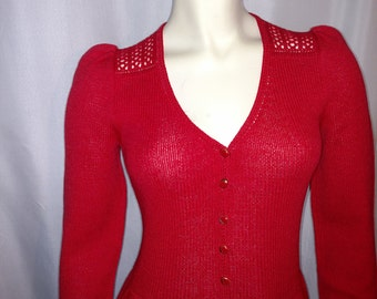 30% OFF VTG  St. John Knit Dress/Size S-M Red Knitt  Dress/Long Sleeves Designer Dress/Sweater Dress/V-Neck Red Knit Dress/ Nr 142