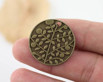 6pcs Antique Bronze Tree Branch Round Flower Pendant Charms Jewelry Findings  28mm