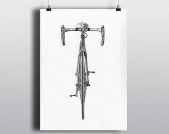 Bicycle Art Print, Bike Art Print, Vintage Art : Bianchi Pista Front Profile