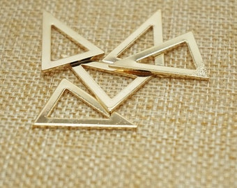 6 pieces gold 18 mm x 25 mm metal geometry triangle pattern Charm , diy jewelry / Earrings / Ear Studs materials, triangler vintage charm