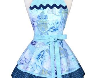 Ruffled Retro Apron - Blue Flower Burst Kitchen Apron - Womens Sexy Cute Pinup Apron with Pocket - Monogram Option