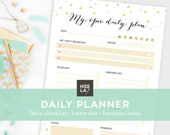 Printable Daily Planner - To Do List - Printable organizer - Instant Download - Print at home