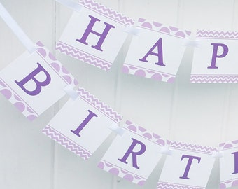 Purple Birthday Banner Printable - Instant Download - Purple Love Collection
