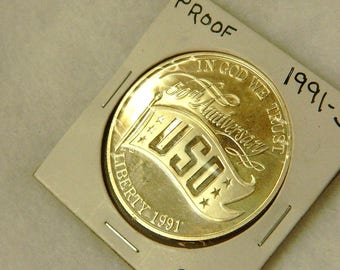 1991-S PROOF U.S.O. SILVER DOLLAR Commerative collectible coin