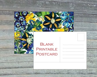 Blank Postcards Floral 4x6 Blue Yellow Flower Download and Print Vacations Birthday Wedding Invitations Party Stationary Baby Shower