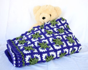 Crochet afghan purple green white tulips granny squares throw blanket spring coverlet couch home decor bedding lap covering floral feminine