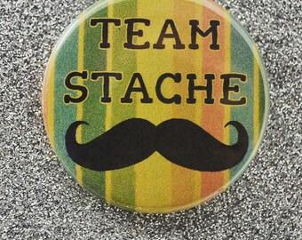 """Team Stache Cute Funny Moustache Mustache 1.75"""" Pinback Button Badge Pin"""
