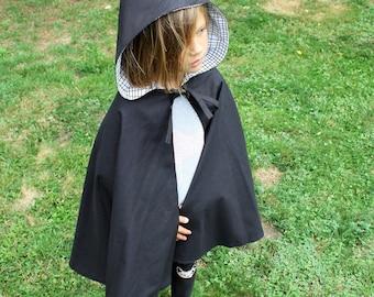 schwarz mit Kapuze, Umhang Mantel, schwarzer Umhang, schwarze Held Kap, schwarze Kinder Kap, Kinder Cape, Umhang, Mantel