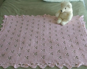 "Crochet Baby Girl Blanket Pink Butterfly 37"" X 44"" butterflies Handmade Afghan Throw Crocheted Baby Girl Blanket"