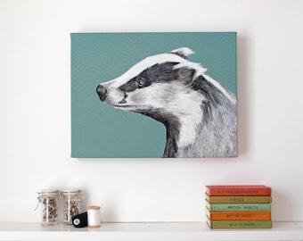 Badger - Embroidered Textile Art Canvas