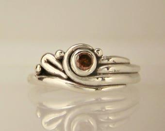 Sterling Silver Diamond Ring/ Red Cognac Diamond Ring/ Cognac Diamond Ring/ One of a Kind Diamond Ring/ Scroll Ring/ Red Diamond Ring