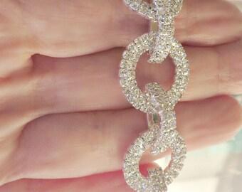 Crystal Bracelet Rhinestone Bracelet Blingy Bracelet Wedding Circles Bracelet Geometric Bracelet Modern Bracelet Party Jewelry Gift For Her