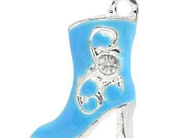 Blue rhinestone enamel high heel boot pendant